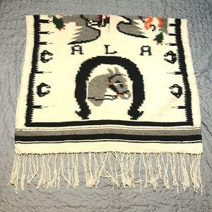 VINTAGE Heavy Wool Horse Print Blanket Poncho
